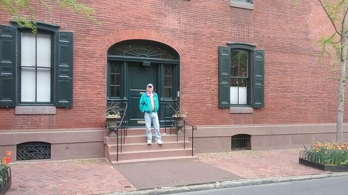 Jan Valentine in front of S. H. Chapman house