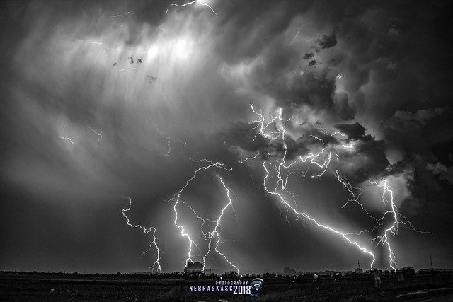 060918 - Epic Nebraska Lightning! (Stacked) (B&W)