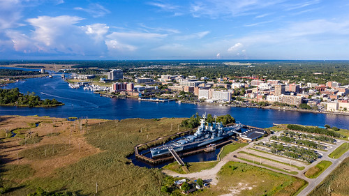 wilmingtonnc waterfront river ussnorthcarolina battleshipnorthcarolina aerial capefearriver riverfront hasselblad