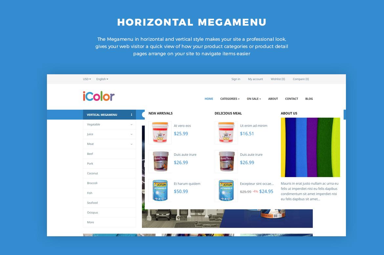 horizontal and vertical mege menu