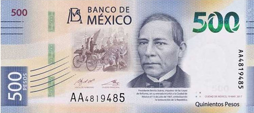 Benito Juarez' Image on New Mexican Banknote