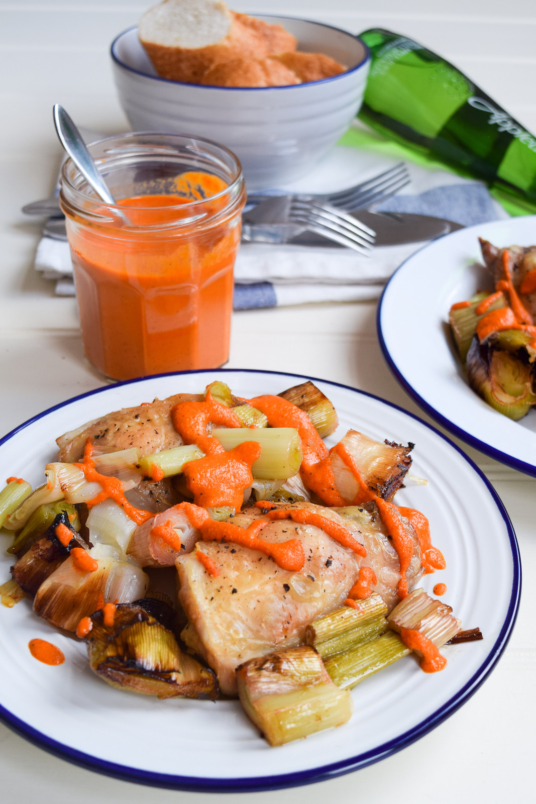 Chicken Thighs with Leeks & Romesco