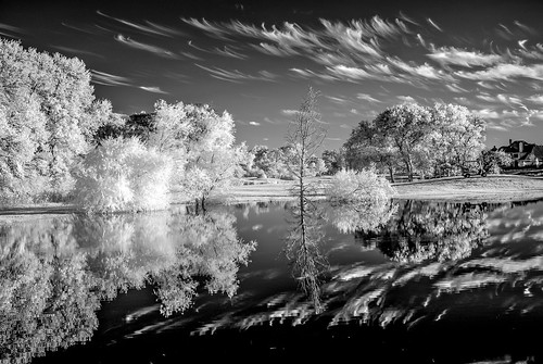 woodbridge texas wylie lake water trees reflection infra red ir nikon d200