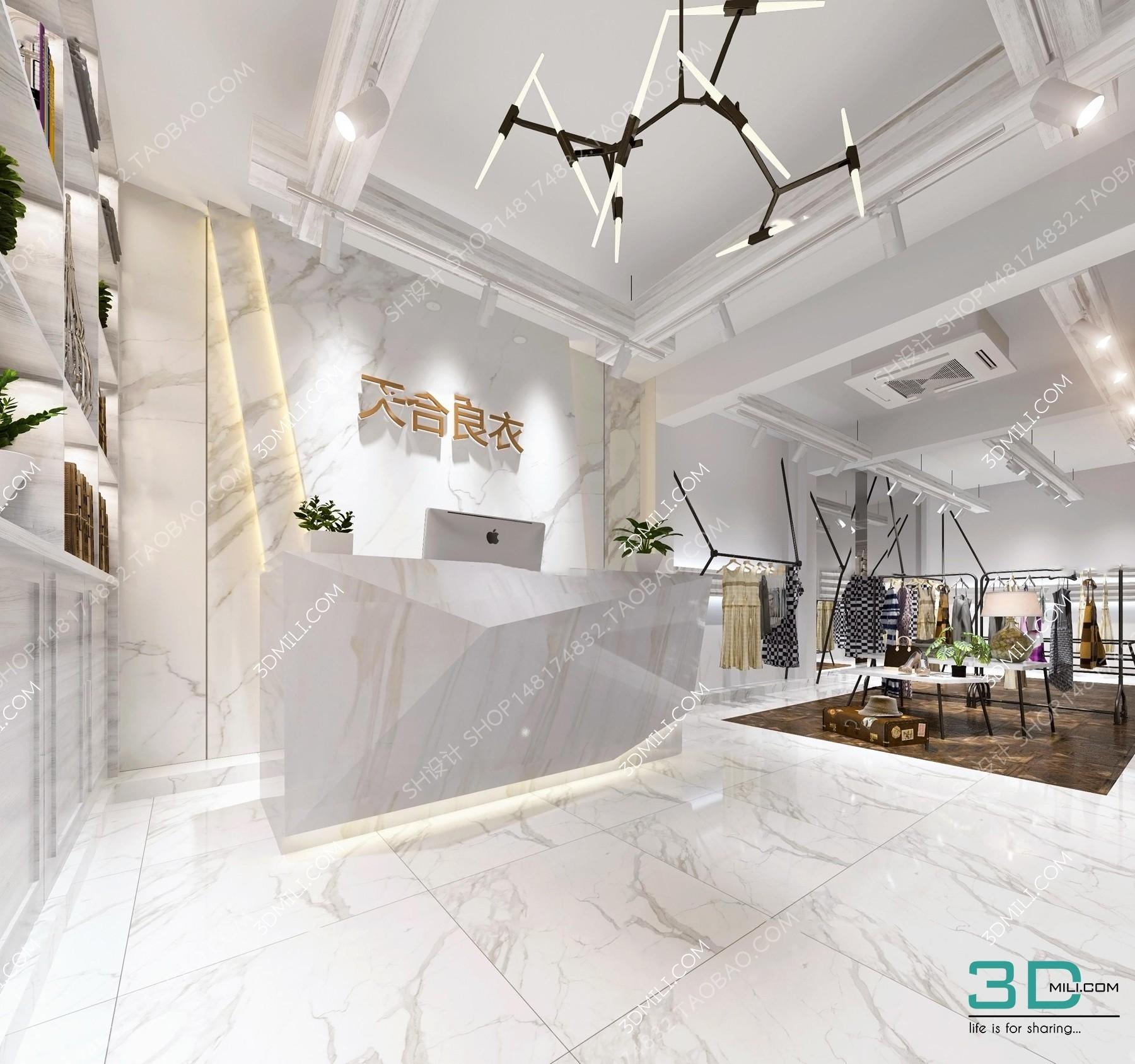 Album Clothing Store, Shop New Model   Interior Design   3D Mili   Download 3D  Model   Free 3D Models   3D Model Download