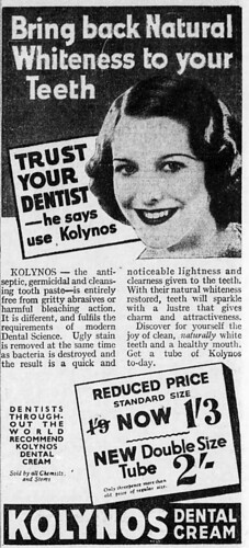 1937 advertisement for Kolynos toothpaste