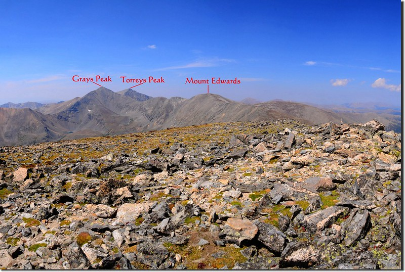 View of Grays、Torreys Peaks and Mt. Edwards from the summit of Argentine Peak 2-1