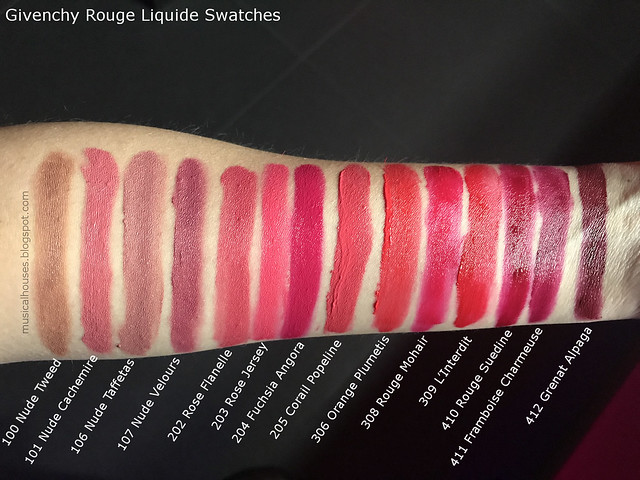 Givenchy Rouge Liquide Swatches