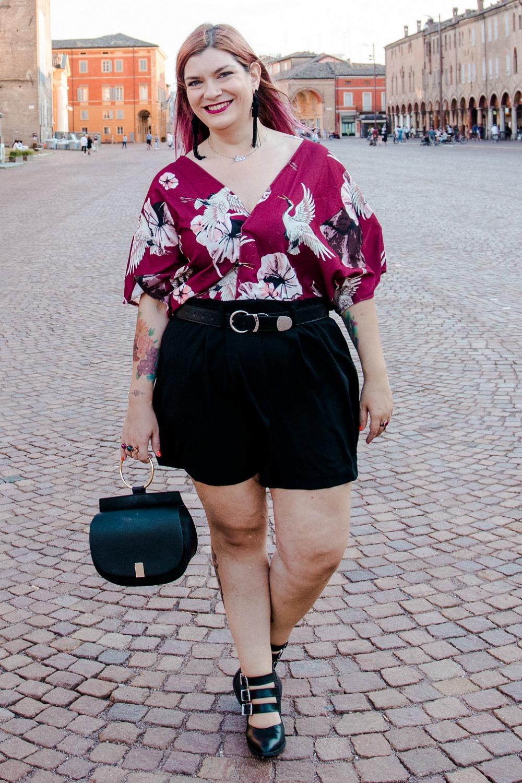 Outfit plus size, il kimono d'estate, come le ciliegie (2)