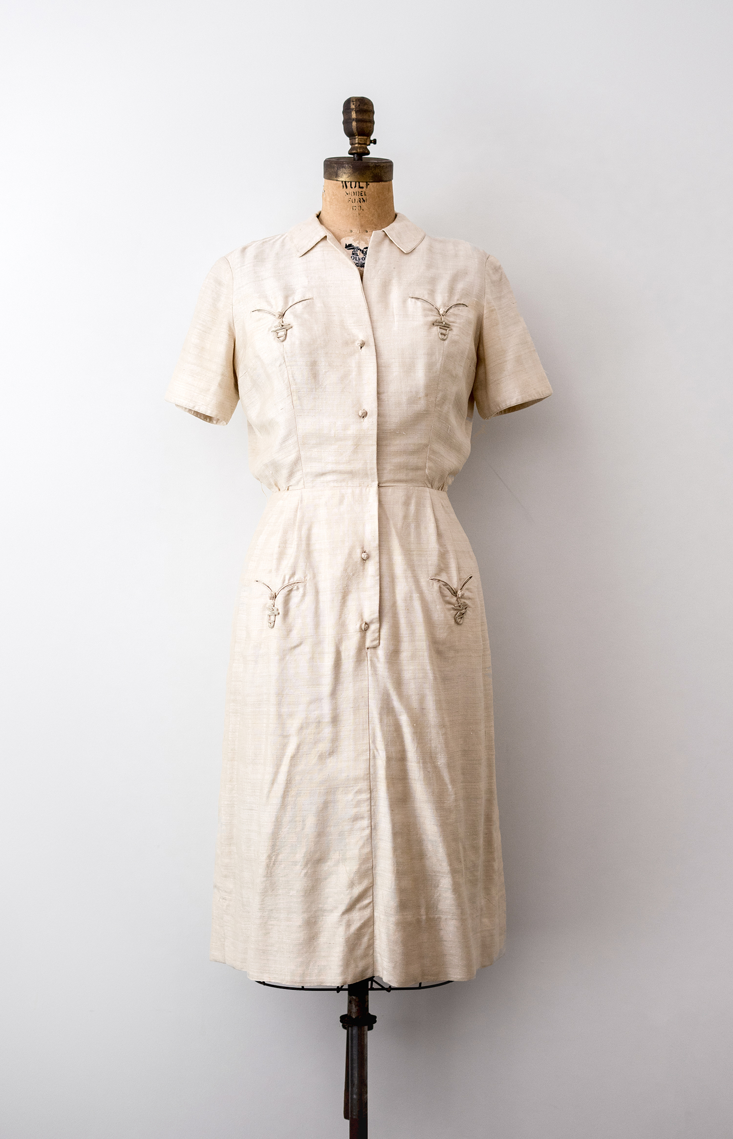 Vintage 1960s cream silk chinese knot dress