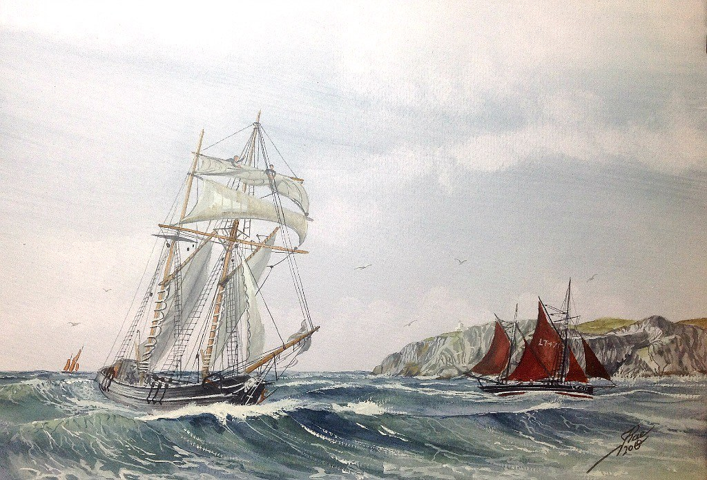 Schooner and Trawler off St Abbs Head On the East Coast of Scotland