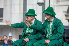 Two Leprechauns in their natural habitat, sitting in the back of a pickup