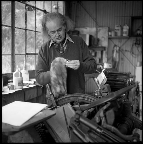 George Hitchcock at his Printing Press 1973