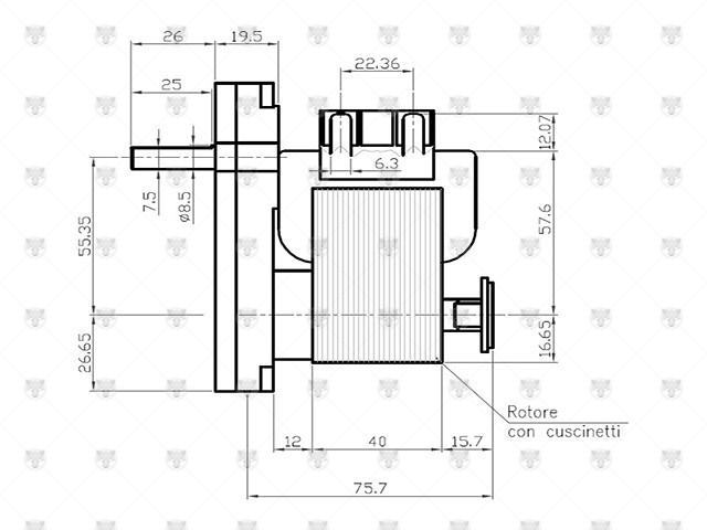MOTORIDUTTORE STUFA A PELLET PERNO 8,5mm VELOCITA' 8,5rpm ORARIO K9117250 - 0