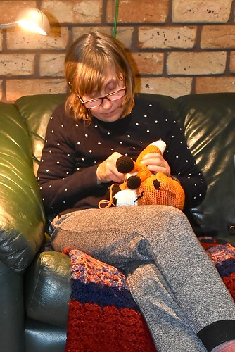Jill Weaver crocheting a toy fox 7 September 2018