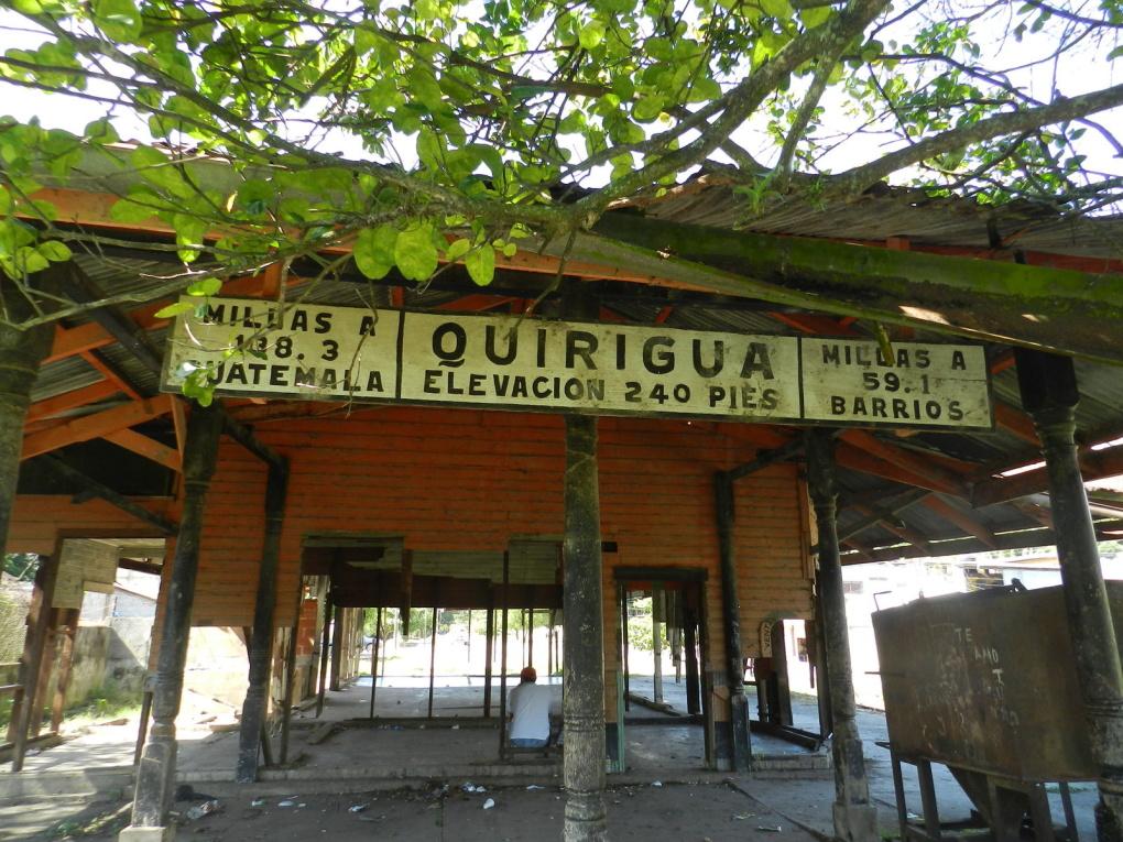 Dilapidated railway platform at Quiriguá, Guatemala. Photo taken on December 6, 2003.