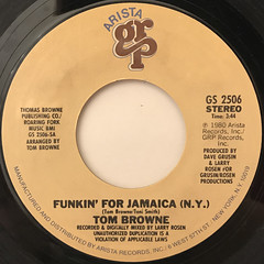 TOM BROWNE:FUNKI' FOR JAMAICA(N.Y.)(LABEL SIDE-A)
