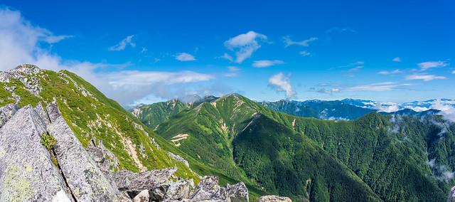 常念岳、大天井岳、燕岳、後立山の山々@前常念岳