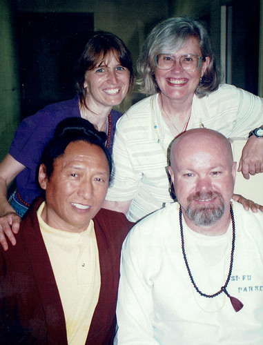 Lama Tharchin Rinpoche, Anna Cox, Frankie Parker and a friend on the death row unit in Arkansas