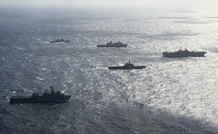 Ships of the Wasp ARG and Japan Maritime Self-Defense Force sail in formation during a passing exercise, Aug. 26. (U.S. Navy/MC3 Taylor King)