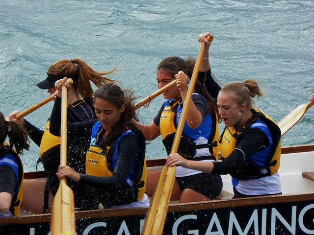 Close up of participants in Wellingtons Dragon boat Festival in Wellington Harbour.