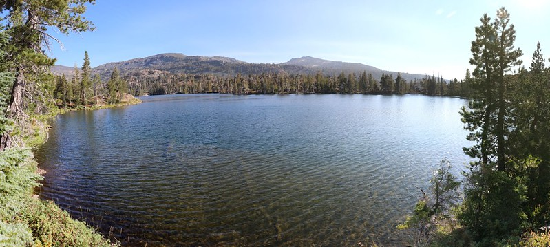 Susie Lake panorama from the southwest shoreline on the Pacific Crest Trail