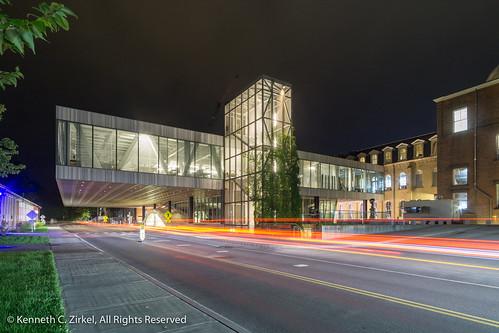Milstein Hall at night