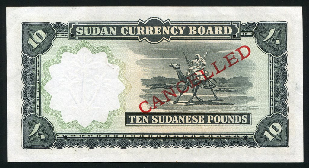 10 Sudanese pounds banknote of 1956, issued by the Sudan Currency Board, featuring the Camel Postman