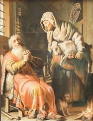 Tobit and Anna with the kid - Rembrandt van Rijn (1626)