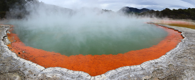 Panorama (stitched) Champagne pool Waiotapu thermal area - New Zealand