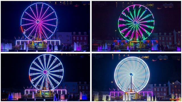 Montage - Plusieurs photos de la grande roue au quai Paquet la nuit
