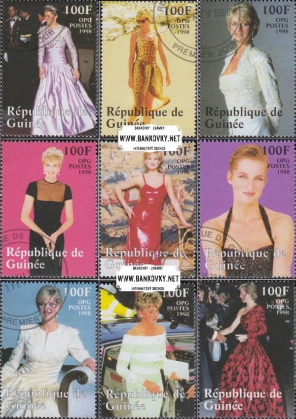 Známky Guinea 1998 Princezná Diana, razítkovaná séria