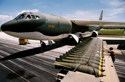 Loading bombs onto a Boeing B-52 Stratofortress