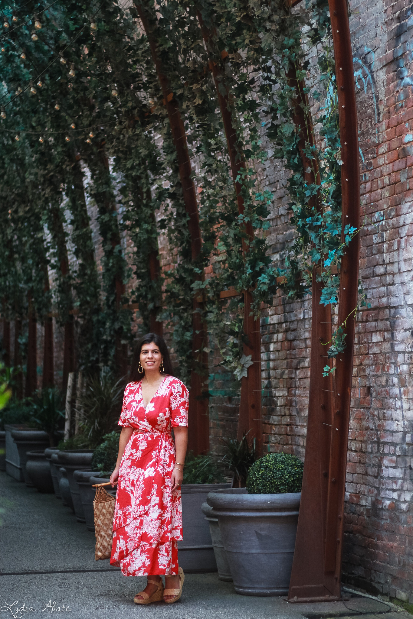 red floral maxi dress, vintage macrame bag, straw wedge sandals-3.jpg