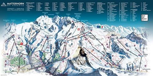 Breuil Cervinia Valtournenche / Matterhorn ski paradise - mapa sjezdovek