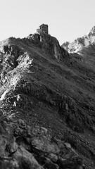 Hintergrad Hütte  Ortler mountain black and white