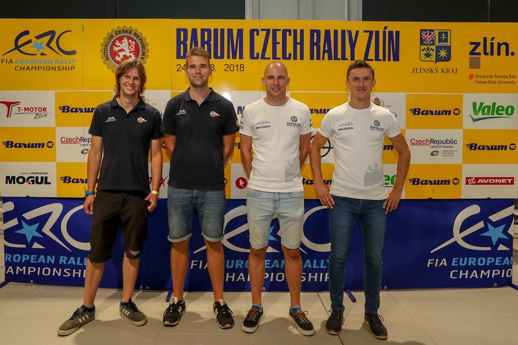 BroZ Dominik, CZE, ACCR Czech Rally Team, Peugeot 208 R2, Portrait, TeSinsky Petr, CZE, ACCR Czech Rally Team, Peugeot 208 R2, Portrait, MareS Filip, CZE, ACCR Czech Rally Team, Skoda Fabia R5, Portrait, HlouSek Jan, CZE, ACCR Czech Rally Team, Skoda Fabia R5, Portrait during the 2018 European Rally Championship ERC Barum rally,  from August 24 to 26, at Zlin, Czech Republic - Photo Alexandre Guillaumot / DPPI