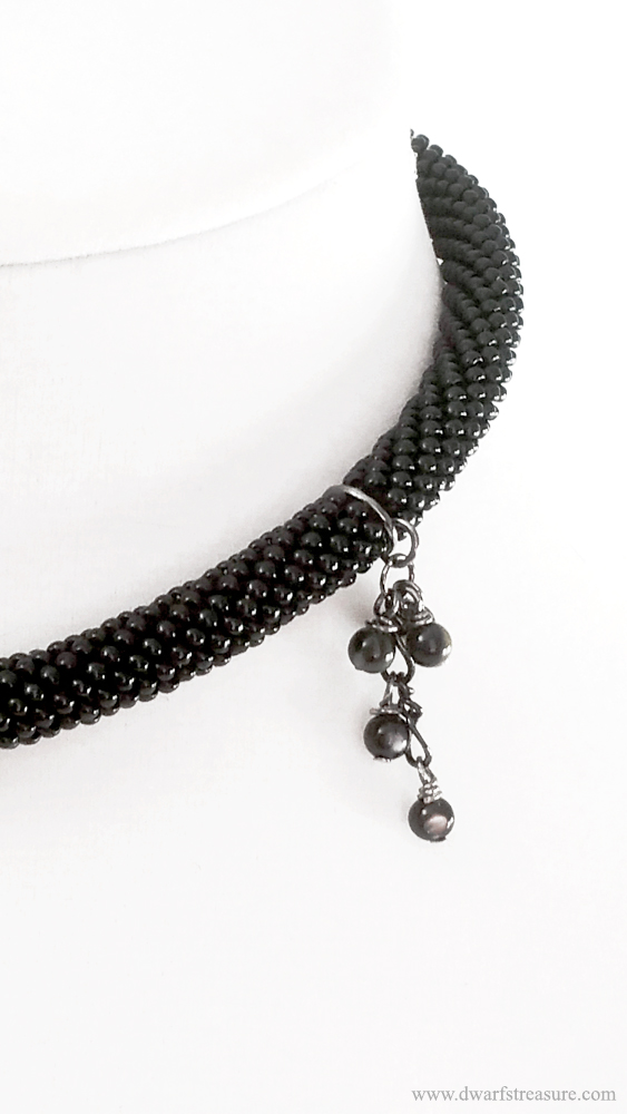 bohemian Black Beaded Crochet Short Necklace