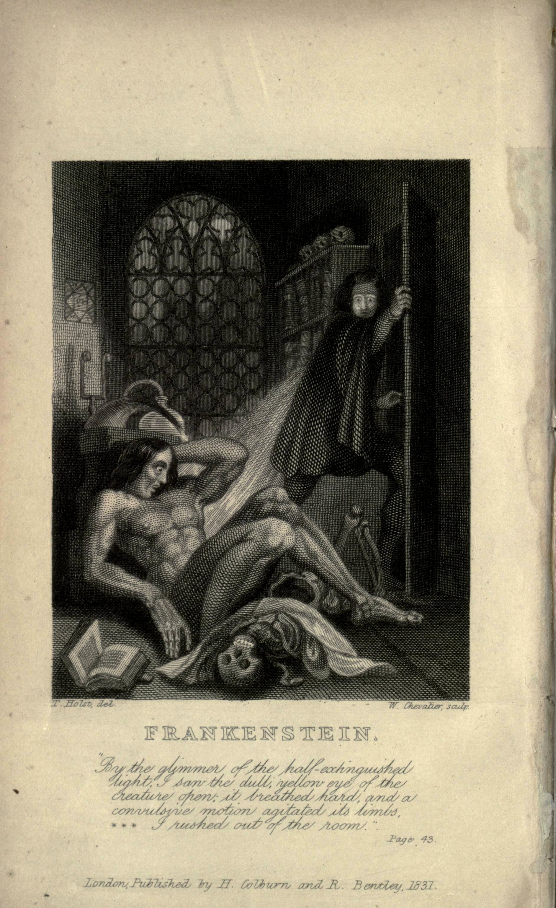 Victor Frankenstein becoming disgusted at his creation. Illustration from the frontispiece of the 1831 edition, one of the first two illustrations for the novel. Steel engraving (993 x 71mm) to the revised edition of Frankenstein by Mary Shelley, published by Colburn and Bentley, London 1831.