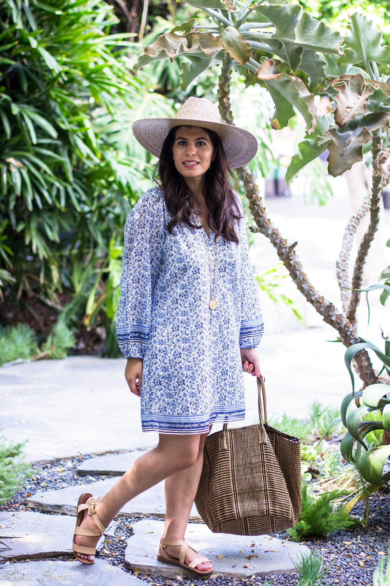 blue and white joie tunic dress, lack of color straw hat, straw tote-8.jpg