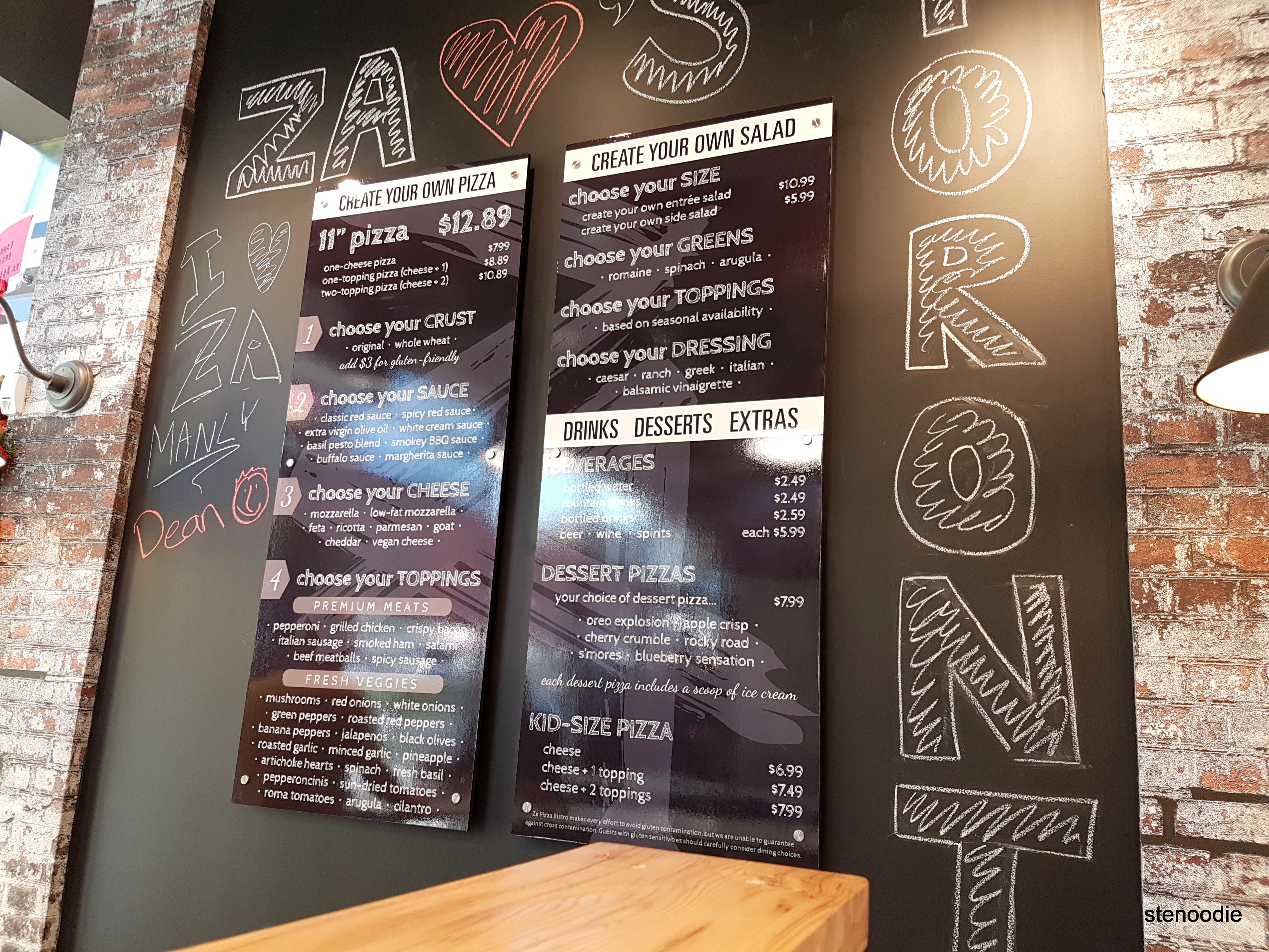 Za Pizza Bistro menu and prices
