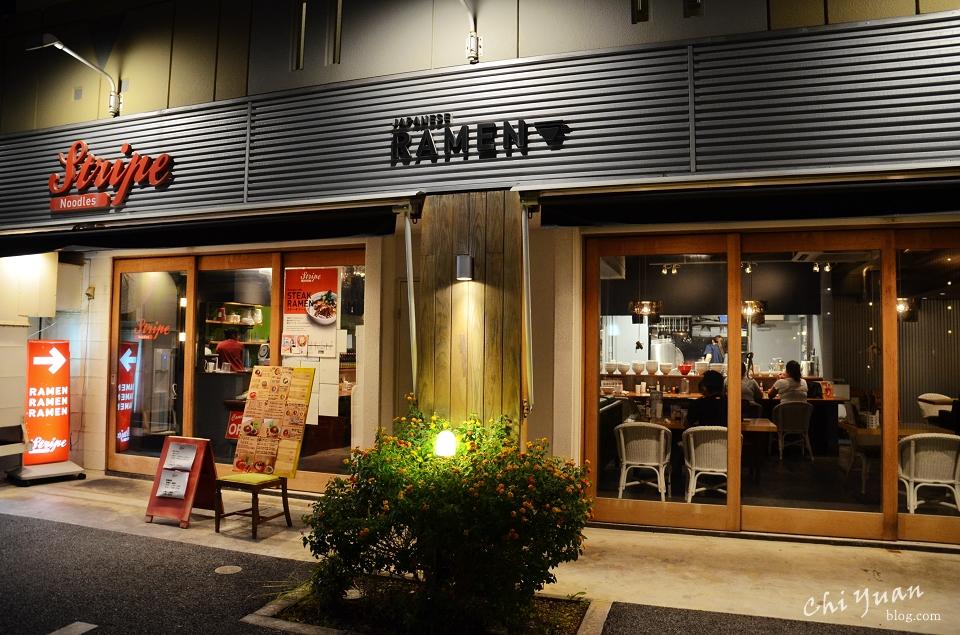 [日本。沖繩]中部北谷美國村Stripe Noodles。原創美式牛排拉麵,牽絲辣味起司餃子