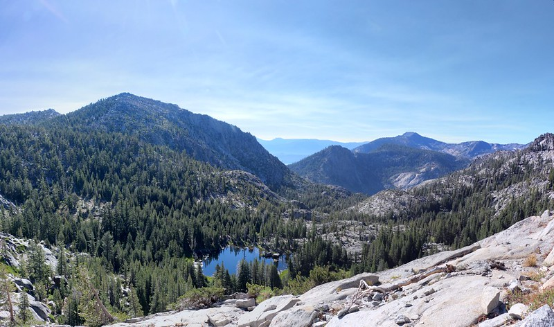 Grouse Lakes below us and Mount Tallac on the right, from the Tahoe-Yosemite Trail