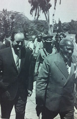 Prime Minister Jomo Kenyatta with the Vice President during his visit to Kenya