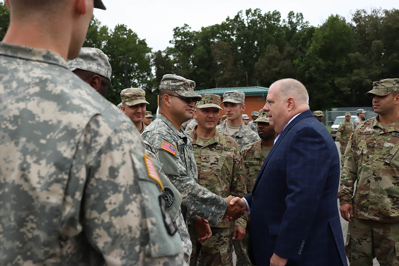 Gov. Hogan visits soldiers ready to deploy in support of Hurricane Florence efforts
