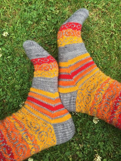 Swirls and stripes socks by Kat Knight 7