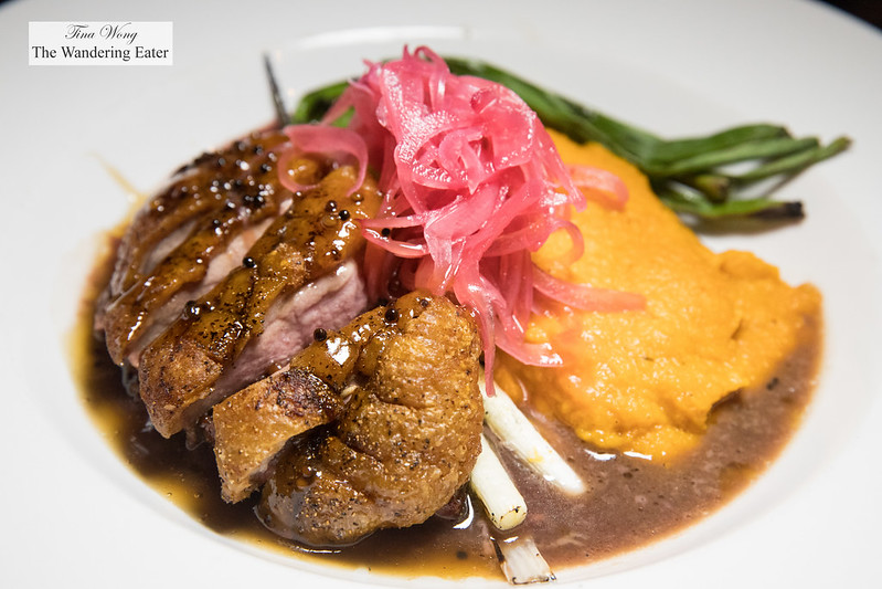 Maple-Bourbon Glazed Duck Breast, .Grilled Scallions, Pickled Red Onion & Sweet Potato Purée