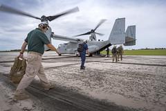 Service members and FEMA personnel board an Marine Corps MV-22B Osprey during survey operations in Rota, CNMI, Sept. 13. (U.S. Marine Corps/Sgt. Scott M. Schmidt)