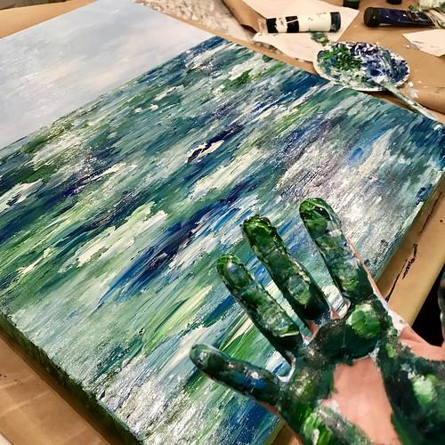Painting Lake Michigan.  Artist Bridget Fox