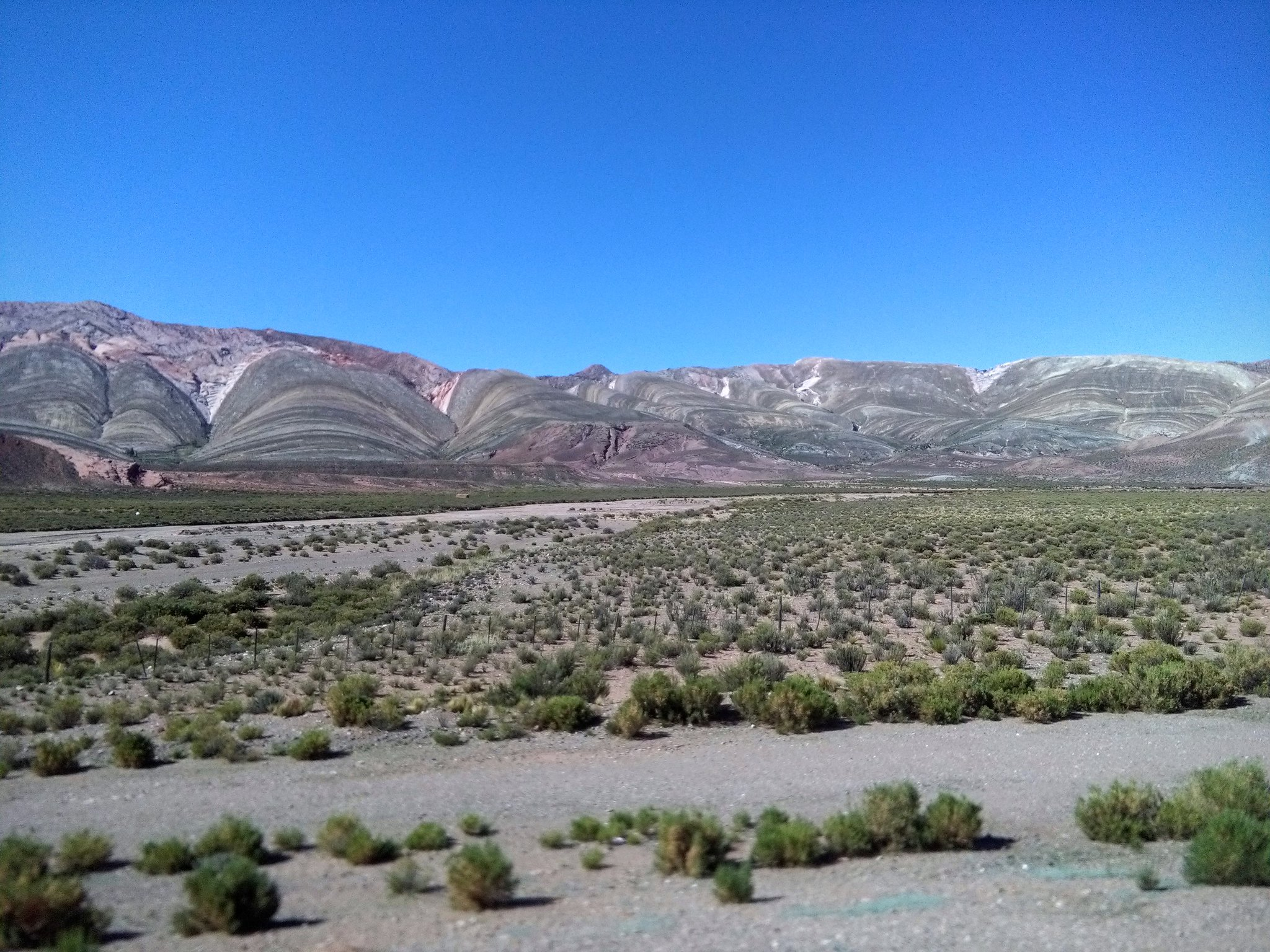 Banded mountains on the way to Salta