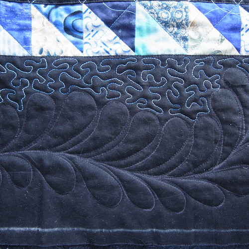 Blue splash quilting